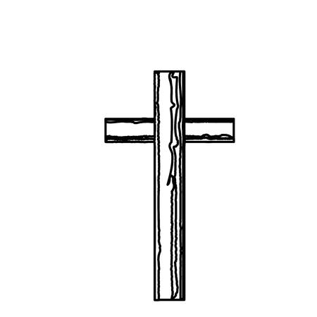흰색 배경 위에 기독교 십자가 심볼 아이콘입니다. 벡터 일러스트 레이 션