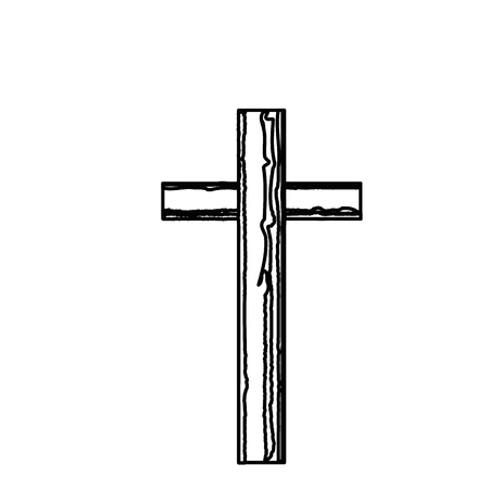christian cross symbol icon over white background. vector illustration