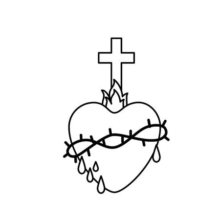 흰색 배경 위에 신성한 심장 아이콘입니다. 벡터 일러스트 레이 션 일러스트
