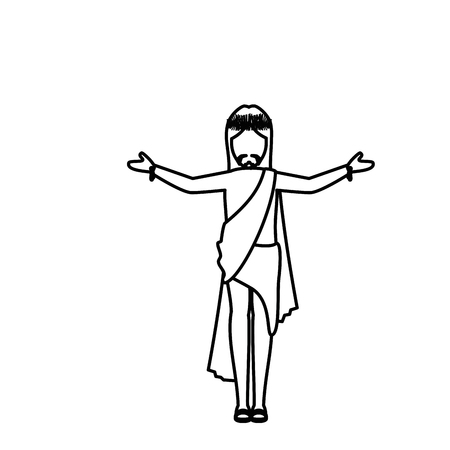 worshipping: crucified Jesus  icon over white background. vector illustration