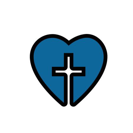 흰색 배경 위에 기독교 십자가 기호 아이콘을 가진 심 혼. 화려한 디자인. 벡터 일러스트 레이 션