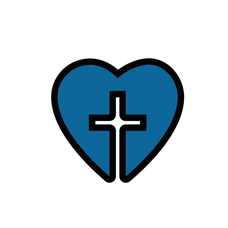 heart with christian cross symbol icon over white background. colorful design. vector illustration Фото со стока