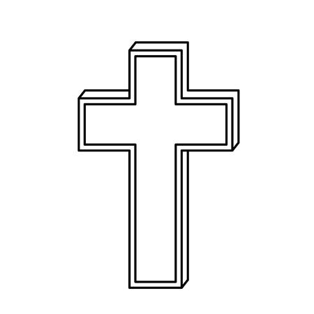Icône symbole croix chrétienne sur fond blanc. illustration vectorielle Banque d'images - 77784788