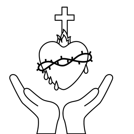 sacred heart: hands with sacred heart icon over white background. vector illustration Illustration