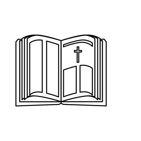 흰색 배경 위에 거룩한 성경 아이콘입니다. 벡터 일러스트 레이 션 일러스트