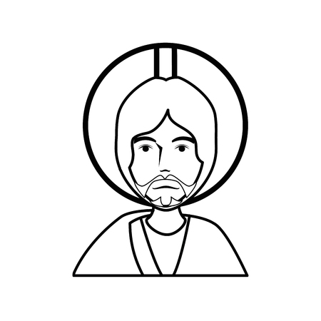 worshipping: jesus christ with a halo icon over white background. vector illustration