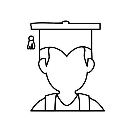 白い背景の上卒業キャップ アイコンを持つ男。ベクトル図