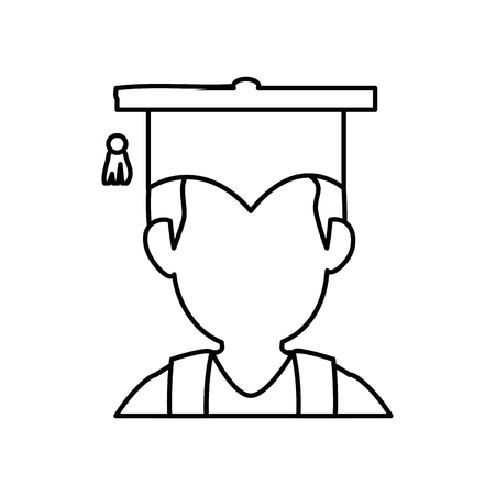 man with graduation cap icon over white background. vector illustration Illustration