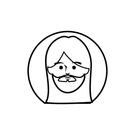 worshipping: jesus christ face icon over white background. vector illustration