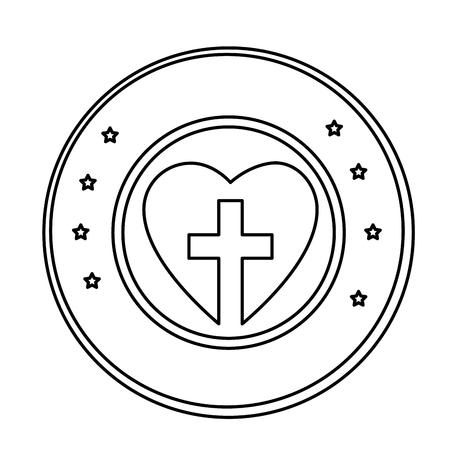 흰색 배경 위에 기독교 십자가 기호 아이콘을 가진 심 혼. 벡터 일러스트 레이 션