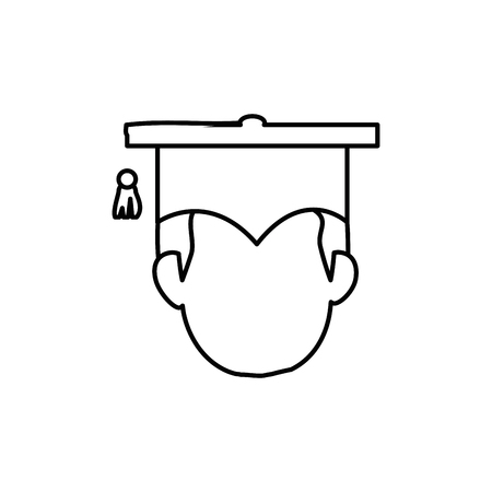 man with graduation cap icon over white background. vector illustration 向量圖像