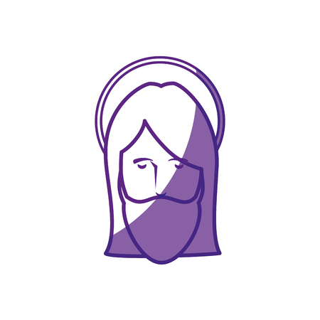 jesus christ face icon over white background. vector illustration