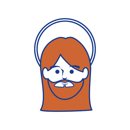 jesus christ face icon over white background. colorful design. vector illustration Illustration