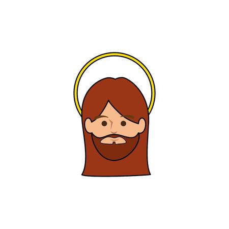 예 수 그리스도 흰색 배경 위에 얼굴 아이콘입니다. 화려한 디자인입니다. 벡터 일러스트 레이 션 일러스트