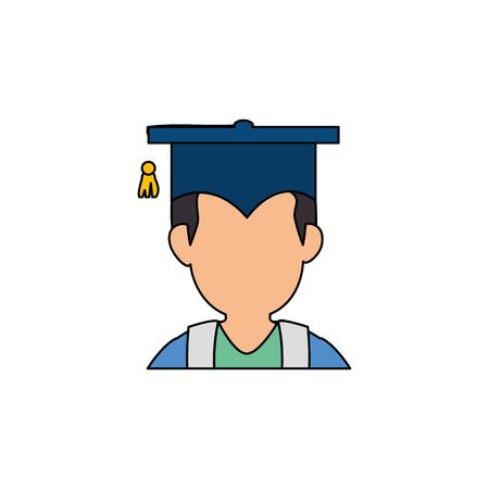 白い背景の上卒業キャップ アイコンを持つ男。カラフルなデザイン。ベクトル図  イラスト・ベクター素材