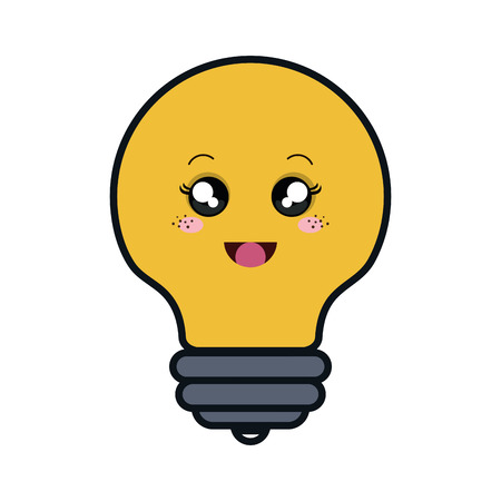 bulb light comic character isolated icon vector illustration design
