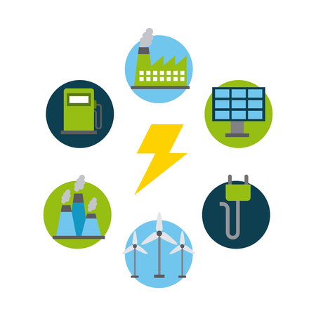 types of energy sources eco friendly related image vector illustration design Çizim