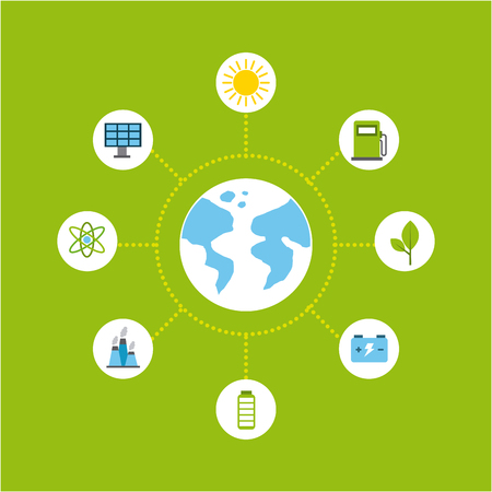 types of energy sources eco friendly related image vector illustration design Illustration