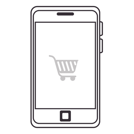 smartphone with cart shopping device isolated icon vector illustration design