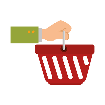 hand human with basket shopping isolated icon vector illustration design