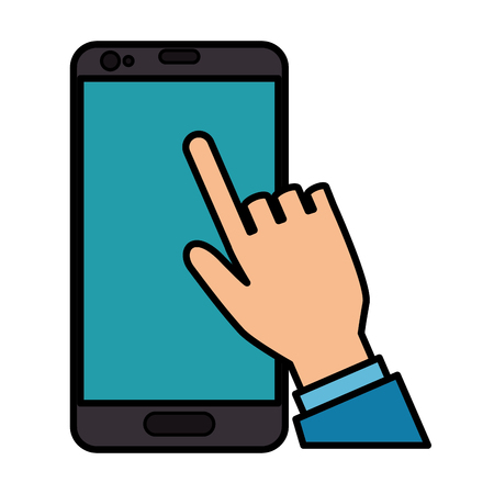 multimedia background: hand human with smartphone device isolated icon vector illustration design