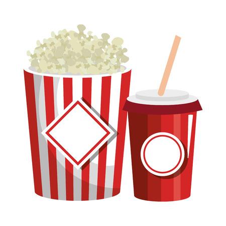 pop corn and soda isolated icon vector illustration design