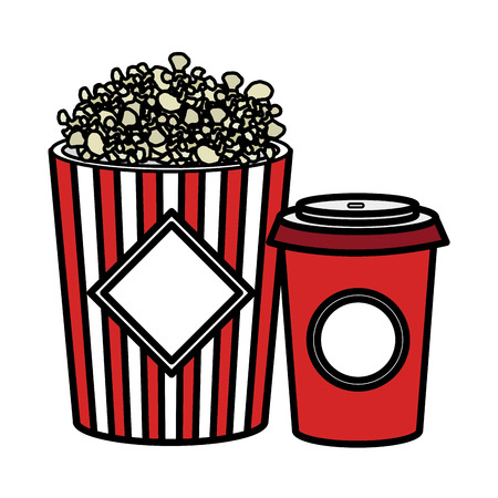 pop corn and soda isolated icon vector illustration design