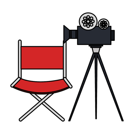 movie theater: video camera cinema with director chair vector illustration design