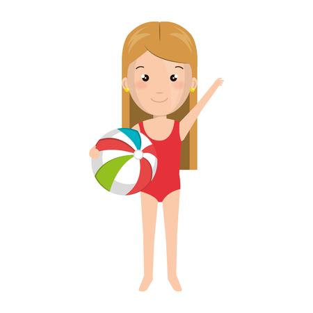 enfant maillot de bain: Petite fille en robe de plage vector illustration design Illustration