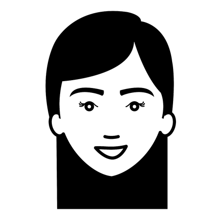 beautiful and young woman head vector illustration design