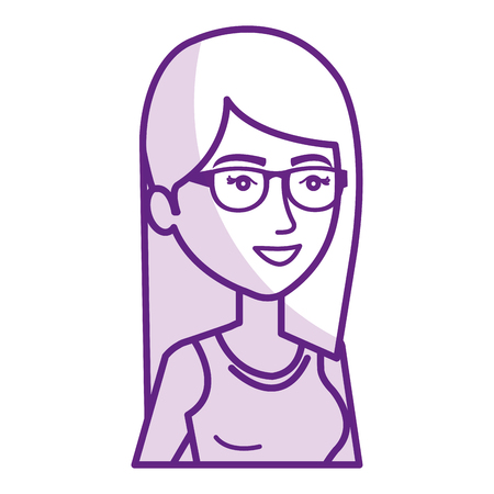beautiful and young woman with glasses vector illustration design Illustration