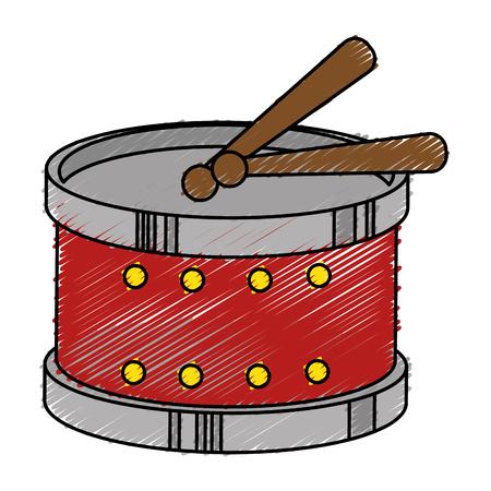 bass drum: drum instrument toy icon vector illustration design Illustration