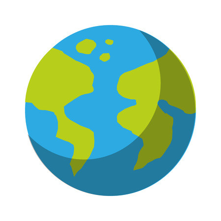 earth planet icon over white background colorful vector illustration