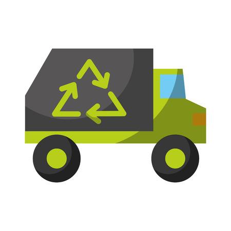 分離されたごみトラック アイコン ベクトル イラスト グラフィック デザイン
