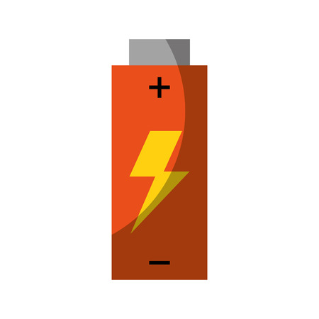 red battery icon over white backgroud  colorful vector illustration