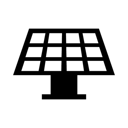 black solar panel icon over white background vector illustration