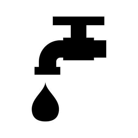 black water faucet with drop icon over white background  vector illustration
