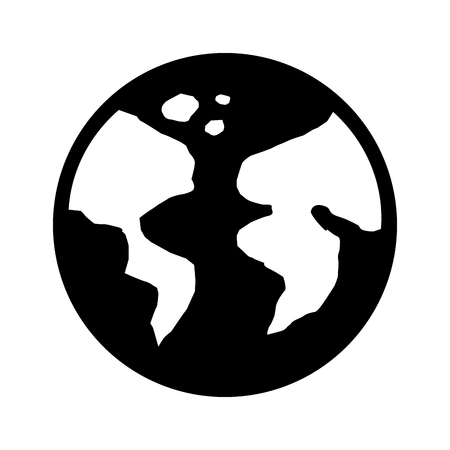 earth planet icon over white background black and white vector illustration