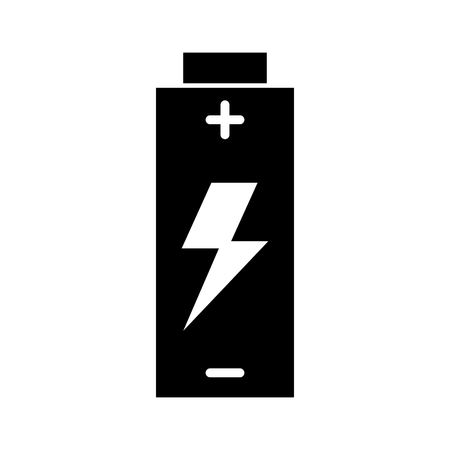 Black and white battery icon over white backgroud vector illustration Illustration