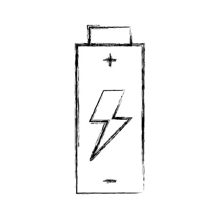 battery icon with grunge line over white backgroud vector illustration Ilustração
