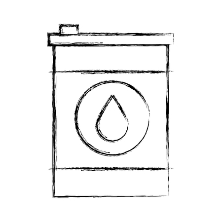 Oil barrel icon with black grunge line over white background vector illustration Ilustração