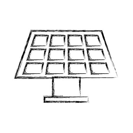 solar energy panel with grunge line over white background vector illustration Illustration