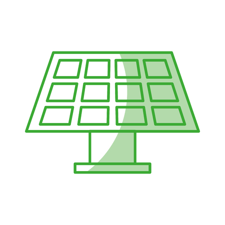 solar energy panel with green line over white background shadow vector illustration