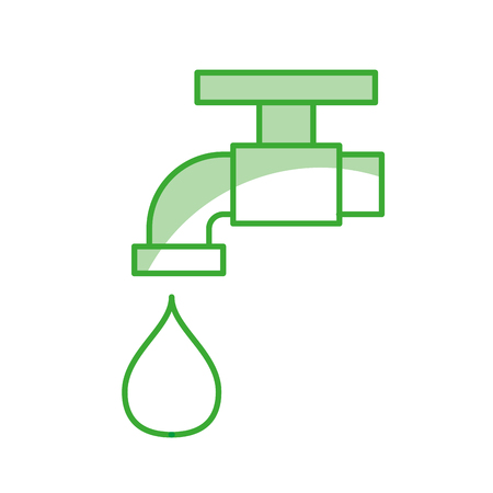water faucet in a green line with drop icon over white background  vector illustration