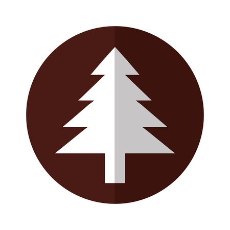white tree icon over brown circle background vector illustration