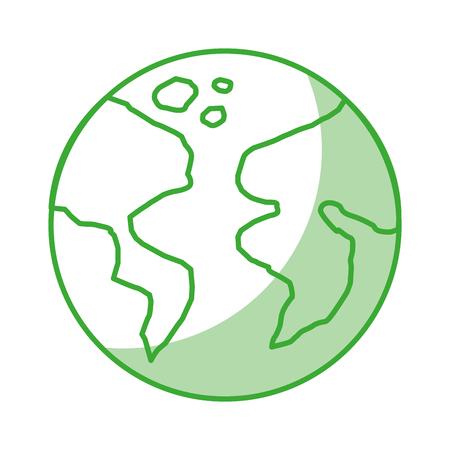 地球惑星アイコン影と白い背景ベクトル図の緑の線