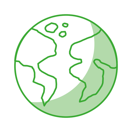 earth planet icon with shadow and green line over white background vector illustration Reklamní fotografie - 77966327