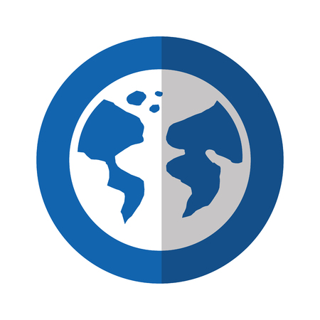 earth planet icon over blue round vector illustration
