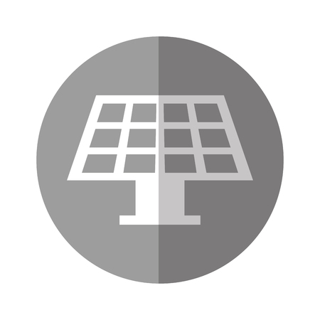 solar energy panel with white and gray over gray circle background vector illustration