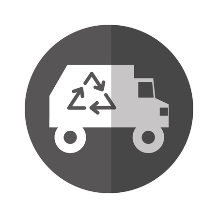 recycle truck icon with white and gray background vector illustration